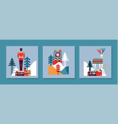 winter scandinavian animal forest card set vector image