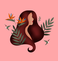 woman face with nature plant leaf and flowers vector image