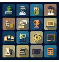 color school and education icons set vector image
