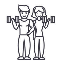 couple in fitness gym line icon sign vector image vector image