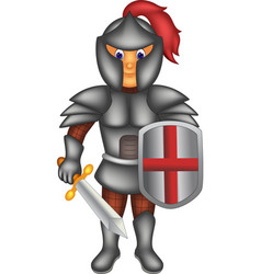handsome knight cartoon standing with smile vector image vector image