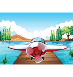 Jetty and aeroplane vector image vector image