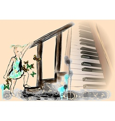little girl and piano vector image vector image