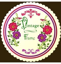 Retro floral round label vector image vector image