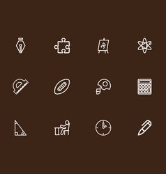 set of 12 editable education outline icons vector image vector image