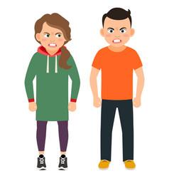 arguing children characters vector image vector image