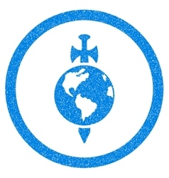 Earth Guard Rounded Icon Rubber Stamp vector image vector image