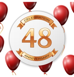 Golden number forty eight years anniversary vector image vector image