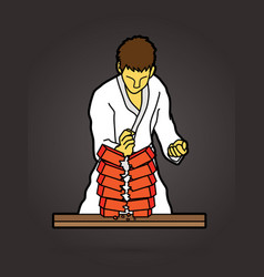 karate man breaking bricks graphic vector image
