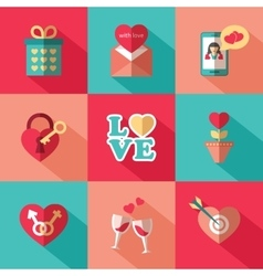 Set of flat valentines day icons vector image vector image