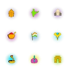 Stay in India icons set pop-art style vector image