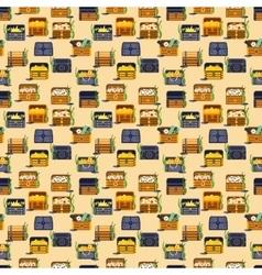 Treasure chest seamless pattern vector