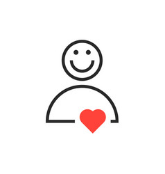 user icon with red heart vector image