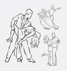 couple dancing hand drawn style vector image vector image