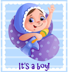 it s a boy greeting cart template for vector image vector image