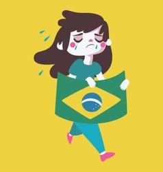 Sad girl holding a brazilian flag vector