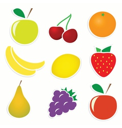 Set of 9 sticky fruitss vector image vector image