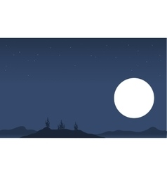 Silhouette of plant scenery and full moon vector image