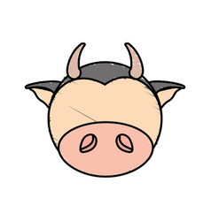 drawing cow face animal vector image
