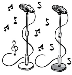 microphone on a stand vector image