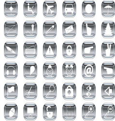 silver icons 1 vector image vector image