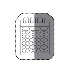 sticker monochrome contour of calendar with spiral vector image vector image