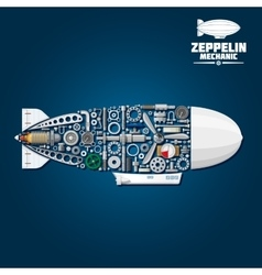 Zeppelin airship symbol with mechanical details vector image vector image