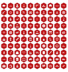 100 combat vehicles icons hexagon red vector