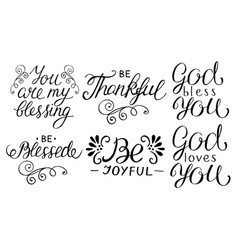 6 hand lettering quotes be thankful joyful vector image