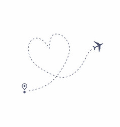 airplane line path love travel route vector image