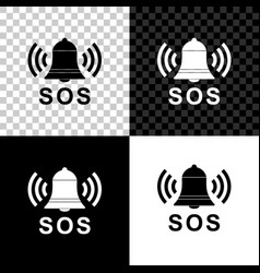 alarm bell and sos lettering icon isolated on vector image