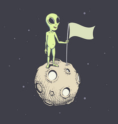 alien on moon with flag vector image