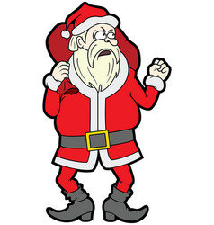 angry santa claus shaking his fist vector image
