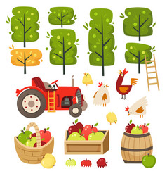 apple garden with crates and barrels vector image
