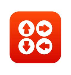arrow set icon digital red vector image