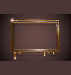 art creative golden melting frame flowing flux vector image