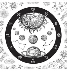 astrology concept with planets hand drawn vector image