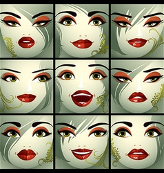 Attractive ladies portraits collection girls vector