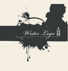 Banner with writer logo and abstract stains vector