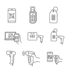 Barcodes linear icons set vector