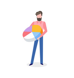 bearded man with pie graph in hand isolated vector image