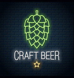 beer hop neon logo craft beer neon sign on wall vector image