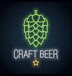 Beer hop neon logo craft neon sign on wall vector