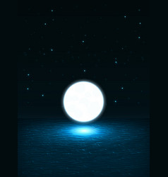 big bright glowing ball like the moon above the vector image
