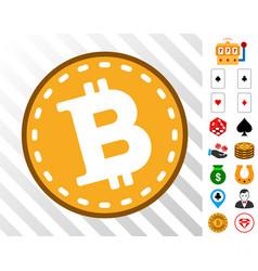 Bitcoin coin icon with bonus vector