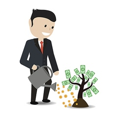 Businessman watering plant with dollar leaves vector