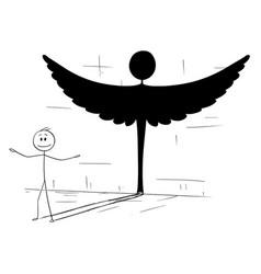 Cartoon good man or person casting shadow vector