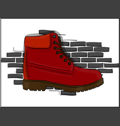 Casual red shoes with a rough outsole with lacing vector