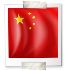 china flag on square paper vector image