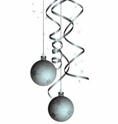 Christmas balls with a curly ribbon vector
